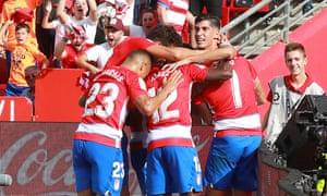 Granada players celebrating v Betis