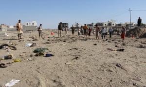 The scene of the suicide bombing in Aden.