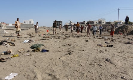 The scene of the suicide bombing in Aden.