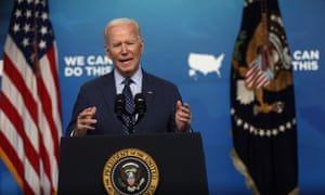 Biden at the White House on Wednesday. He said on Thursday: 'The US is committed to bringing the same urgency to international vaccination efforts that we have demonstrated at home.'