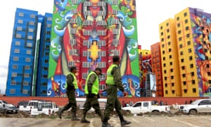 Buildings painted by Roberto Mamani which were built under a Bolivian housing programme in La Paz