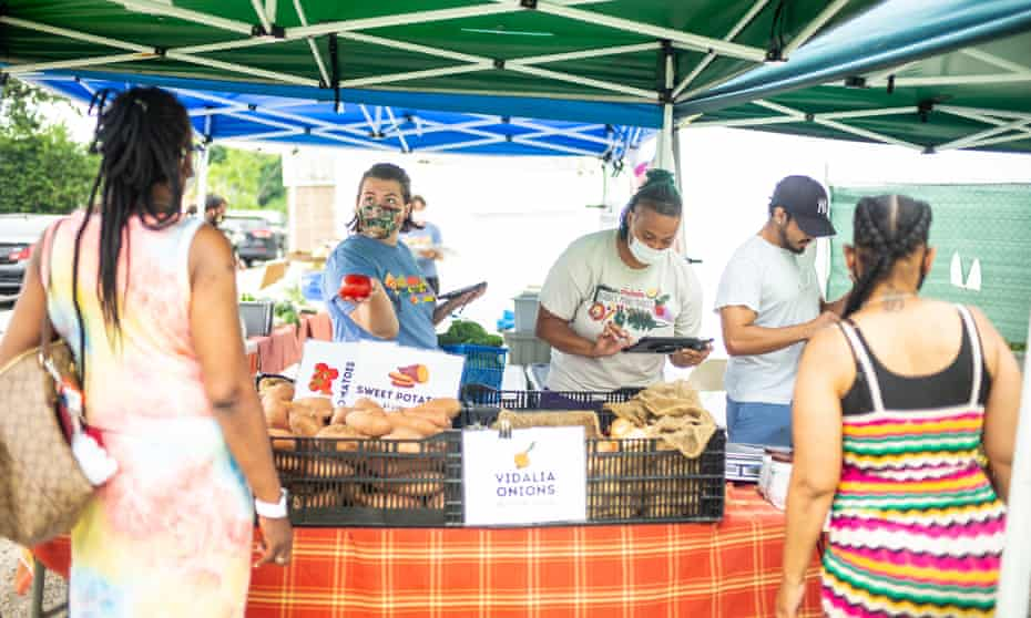 Arcadia Farms' mobile market sells fresh fruits and vegetables in the Fort Dupont neighborhood of Washington DC.