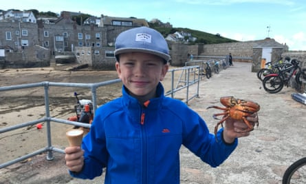 The writer's son crabbing on St Mary's.Isabel choat