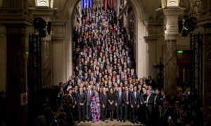 Hidalgo with United Nations special envoy for cities Michael Bloomberg and some of the 500 mayors attending the COP21 climate summit in Paris in December.