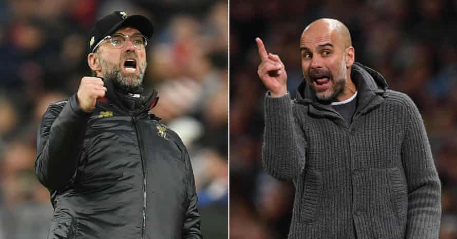 Jürgen Klopp, left, and Pep Guardiola. 'They both improve players but I'd be more suited to Man City,' Lineker says.
