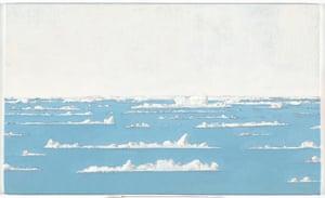 John Kelly Floating Ice, 26/10/2013, oil on canvas board, 24.4 x 40.4cm.