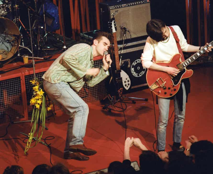 'Shyness is nice' … Morrissey, left, on stage with Johnny Marry and the Smiths.