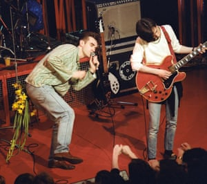 Morrissey and Johnny Marr during the Smiths' performance on The Tube, 1984.
