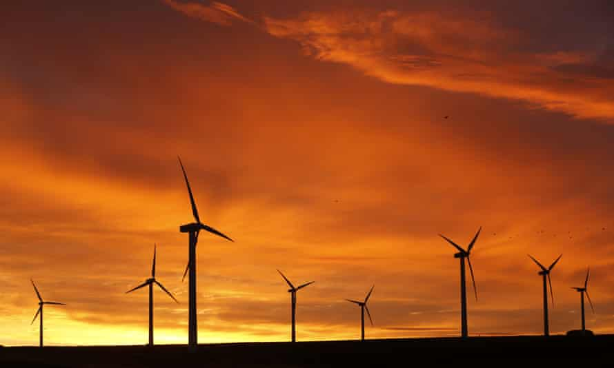 Dunlaw wind farm near Edinburgh – onshore farms provide 50% more power than their counterparts at sea.