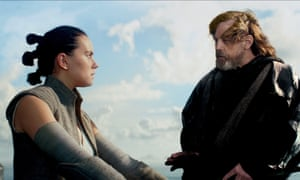 Daisy Ridley and Mark Hamill in Star Wars: The Last Jedi.