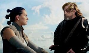 Rey and Luke Skywalker in Star Wars: The Last Jedi.