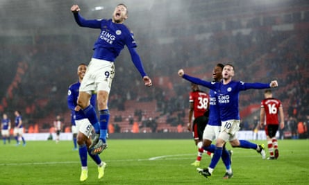 Jamie Vardy celebrates scoring his side's ninth goal.