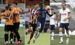 The Wolves' players celebrate a goal, Sheffield United's John Egan in action with Chelsea's Tammy Abraham and Spurs' Harry Kane. Photographs: AP, Getty and NMC Pool. Composite: Jim Powell