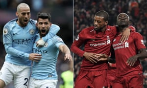 Manchester City's Sergio Agüero celebrates with David Silva and Sadio Mane of Liverpool celebrates with Georginio Wijnaldum after scoring against Manchester United at Anfield. Photographs by Getty Images