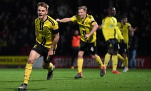 Jake Hesketh of Burton Albion celebrates his goal during the famous 3-2 victory in the fourth-round against Nottingham Forest.