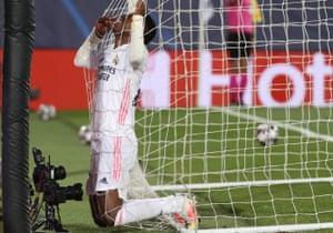 Real Madrid's Vinicius Junior rues his miss.