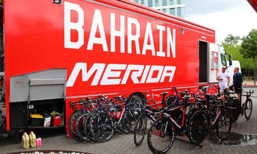 A Bahrain Merida team truck at the Tour de France.