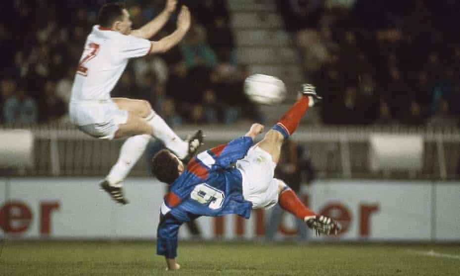 France's Jean-Pierre Papin scores against Belgium with a stupendous overhead kick.