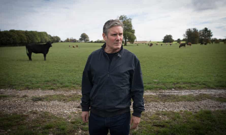 Keir Starmer on a farm