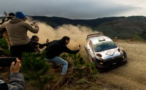 Italian rally driver Lorenzo Bertelli steers his M-Sport Ford WRT with his co-driver, Simone Scattolin, during the World Rally Championship in Pelun, Chile
