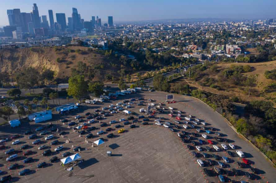 Cars line up for Covid testing at Dodger Stadium in Los Angeles.