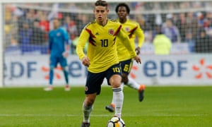 The creativity of James Rodríguez is vital to Colombia and the attack revolves around him.