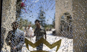 A broken glass window of the Imperial Marhaba hotel.
