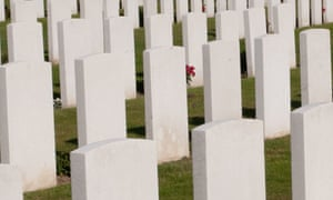 Headstones at Tyne Cot British Military Cemetery and Memorial to the Missing near Ypres in Belgium.