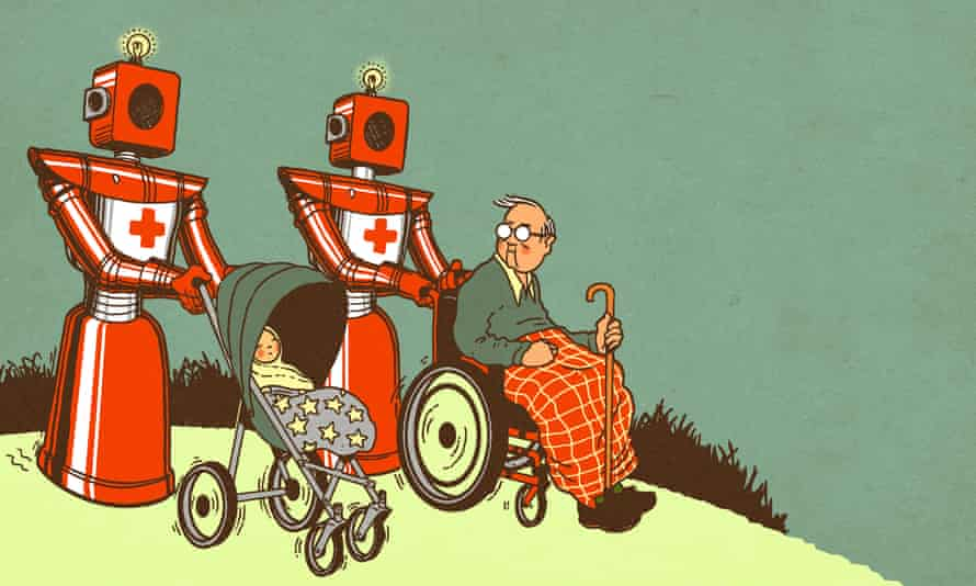 Robots pushing elderly person in wheelchair. Illustration by Robert G Fresson