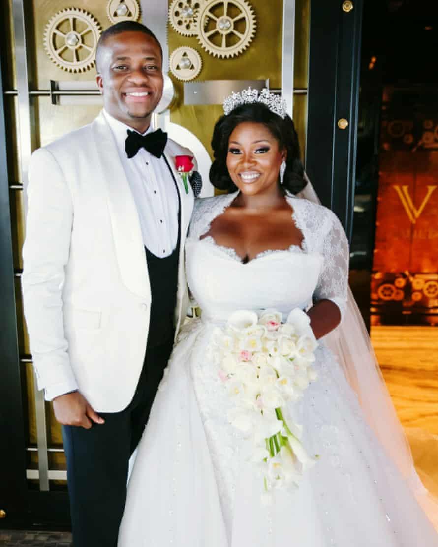 Toolz and Tunde white wedding shot
