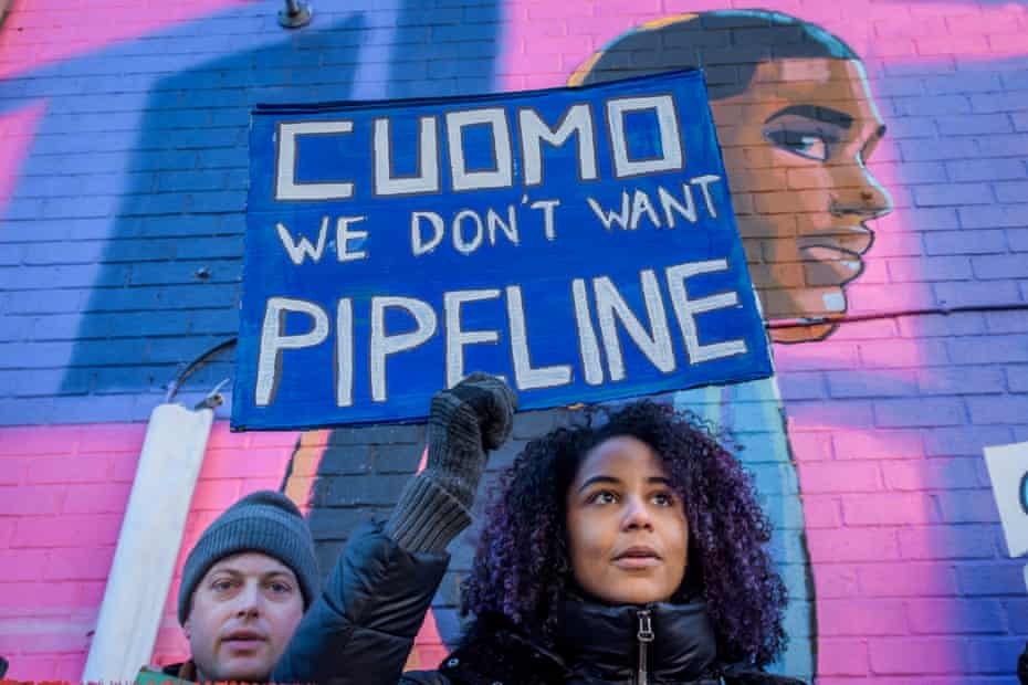 Protesters call on Andrew Cuomo to oppose the pipeline.