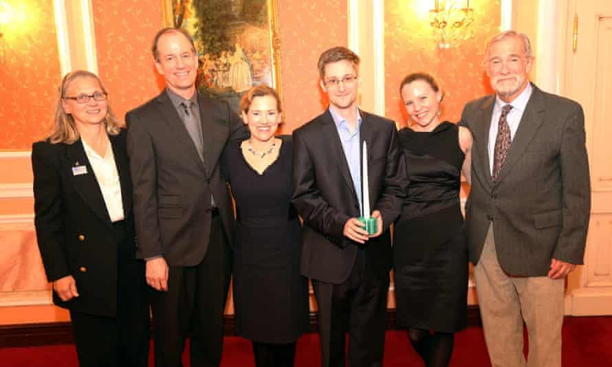 Sarah Harrison, Edward Snowden and others at a ceremony in Russia