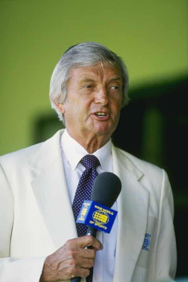 A portrait of cricket commentator Richie Benaud.