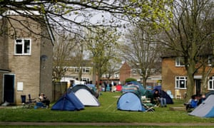 Campers at RAF Coltishall, Norfolk, as they wait for the sale of Ministry of Defence properties to go on sale in 2007.