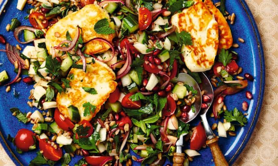 Thomasina Miers' farro, halloumi, tomato and pomegranate salad