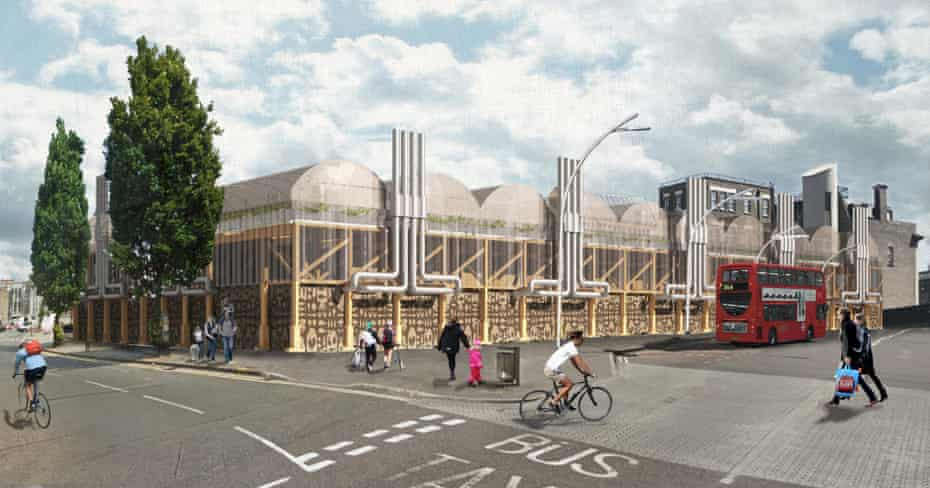 Ilford community market in east London, opening next year, will have no concrete foundations and a timber structure stabilised by rocks in metal cages