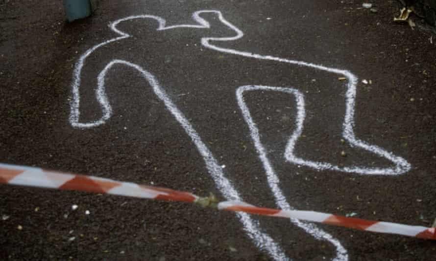 Police chalk outline of murder victim