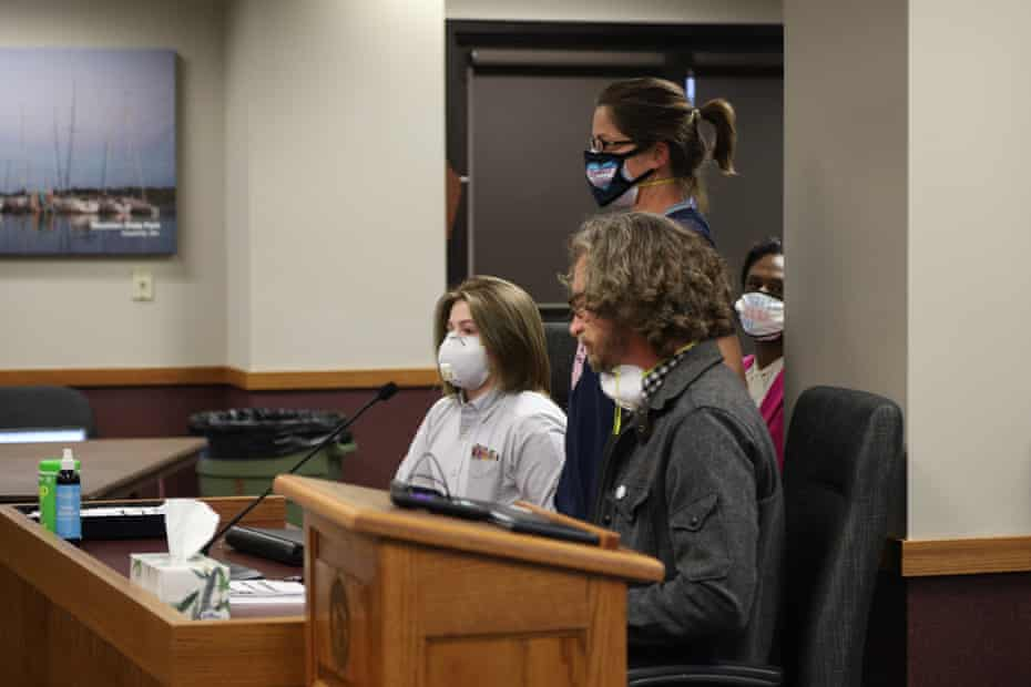 James Thurow and Danielle Meert with Miles, 14, testifying during a hearing in the Missouri house of representatives.