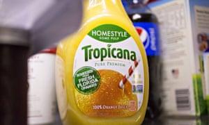 A bottle of PepsiCo Inc. Tropicana brand orange juice