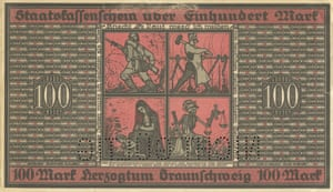 100 Mark Notgeld note from Braunschweig, October 1918, showing a a soldier, a worker, a mother and Death in black, white and red