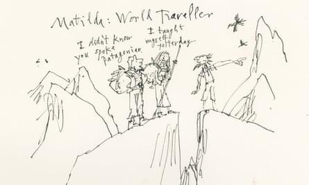 Matilda illustration by Quentin Blake as a world traveller
