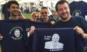 Matteo Salvini, right, with the controversial T-shirt.