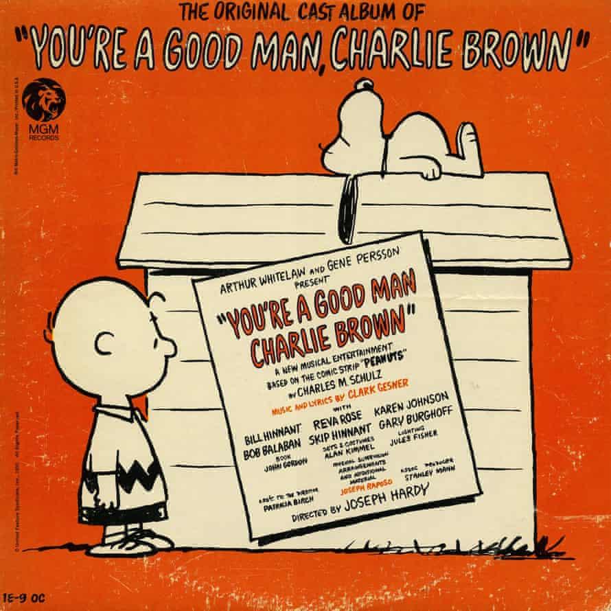 The album cover for the original cast recording of You're a Good Man, Charlie Brown.
