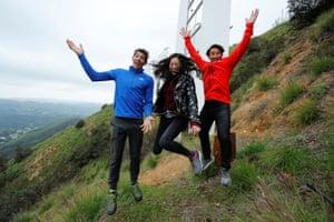 Team building … Alex Honnold, left, with co-directors Elizabeth Chai Vasarhelyi and Jimmy Chin.