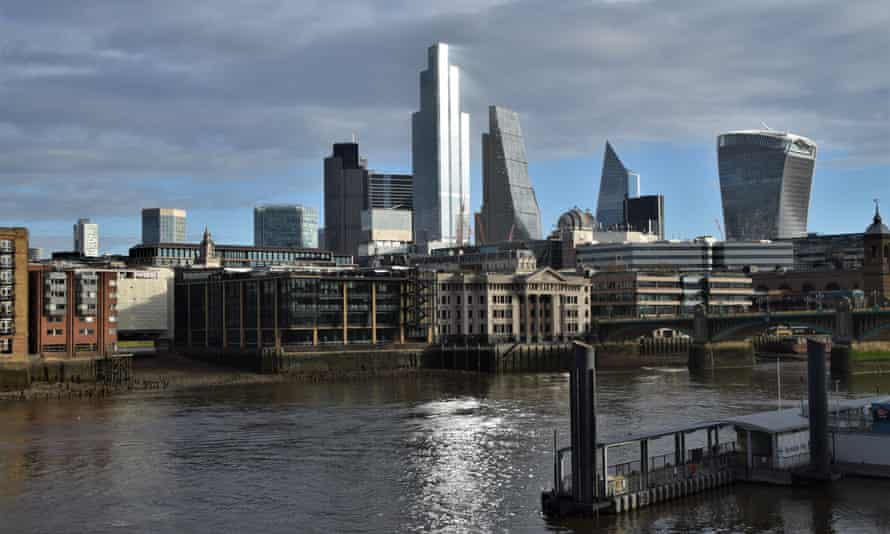 The City of London skyline during the second month-long national lockdown in England.