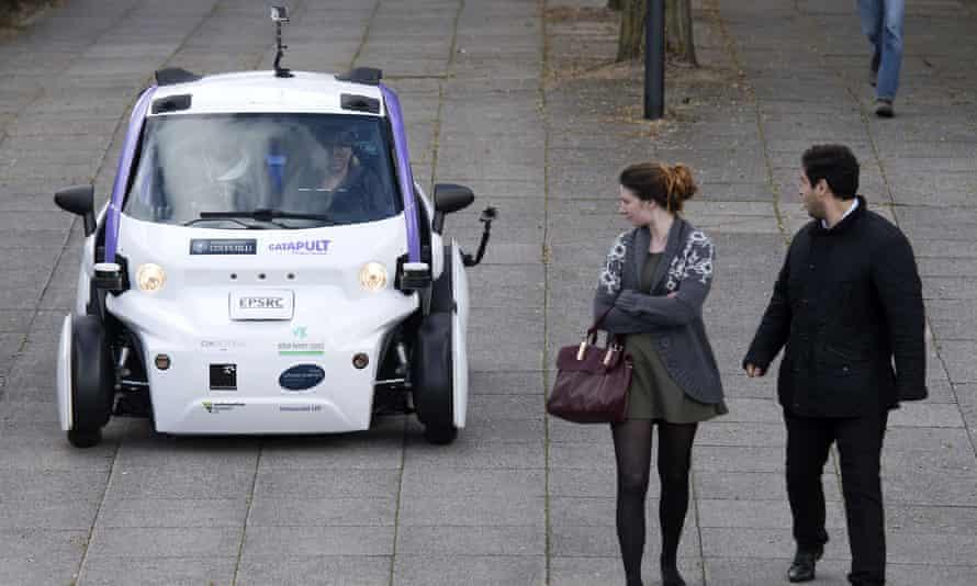 A LUTZ Pathfinder drives through Milton Keynes