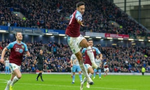Dwight McNeil jumps for joy after scoring Burnley's second goal against West Ham at Turf Moor.