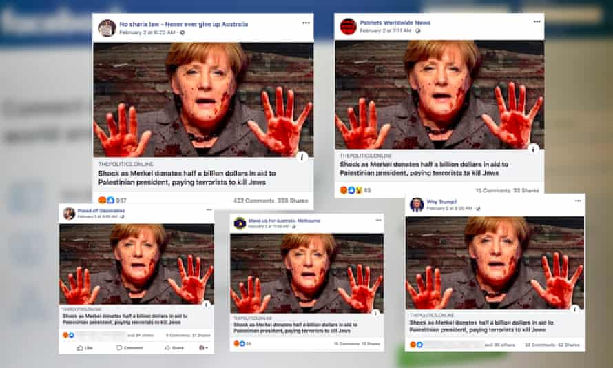 "Coordinated Facebook posts falsely claiming German chancellor Angela Merkel paid ""terrorists to kill Jews"""