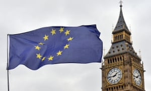 An EU flag flying in front of the Houses of Parliament.
