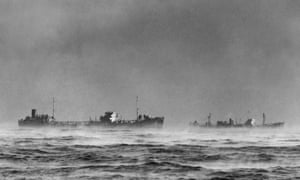 British ships passing through Arctic fog while on convoy duty, January 1945
